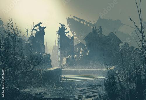 Fotografie, Obraz  abandoned city in heavy rain,landscape painting