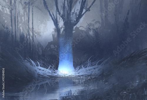 scena nocna strasznego lasu z bagnami, malarstwo ilustracyjne