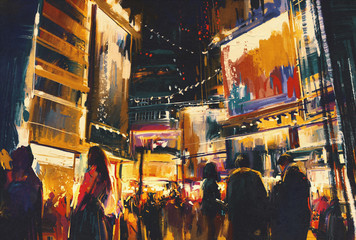 Fototapeta Miasto nocą colorful of night city,digital painting