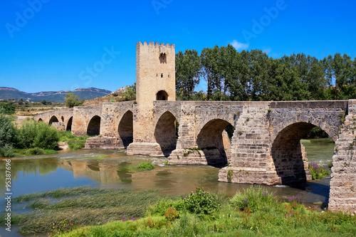 Roman-Medieval bridge of Frias on Ebro river. Burgos. Castilla a