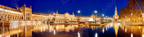 Photo  Evening view of Plaza de Espana. Seville, Spain