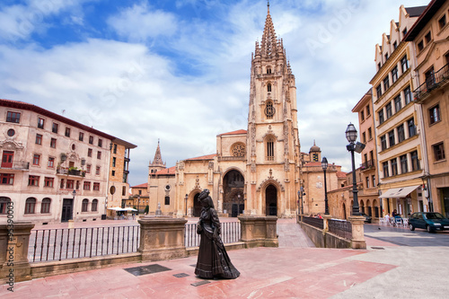 Photo  Oviedo Cathedral on Plaza Alfonso II el Casto in Asturias. Spain