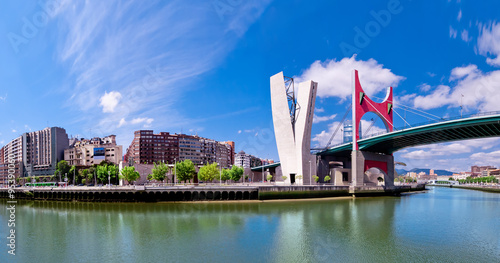 view of embankment of river Nervion O de Bilbao, district Uribit