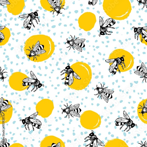 Cotton fabric Vector seamless hand drawn honey bee pattern.