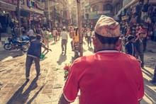 Rikshaw Driver On A Busy Street.