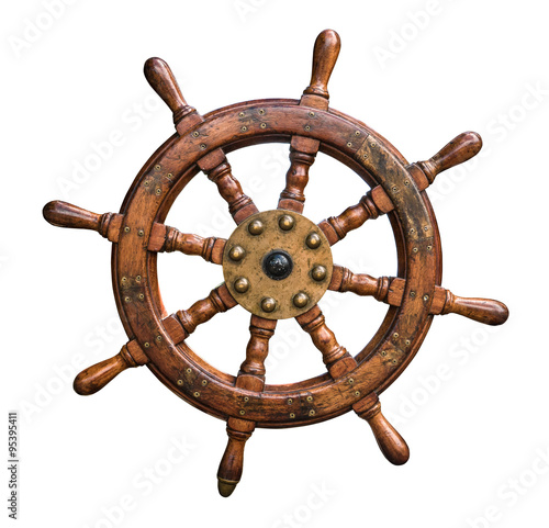 Foto op Aluminium Schip Isolated Ships Wheel