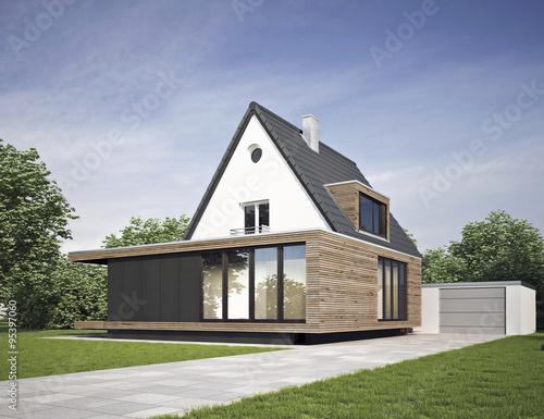 Haus Modernisiert Mit Anbau Kaufen Sie Diese Illustration Und