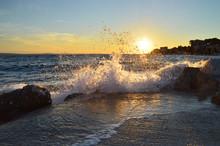 Braking Waves At Sunset