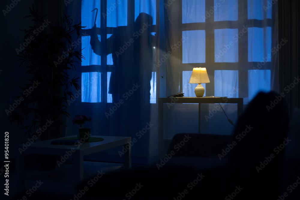 Fototapeta shadow  of burglar