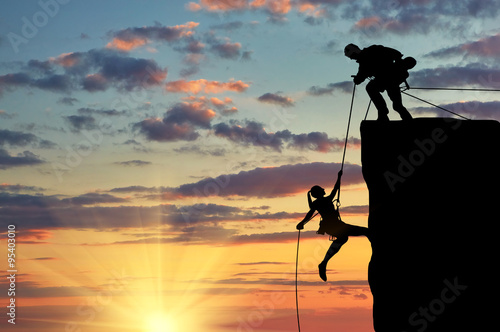 Fotografie, Obraz  Silhouette of two climbers