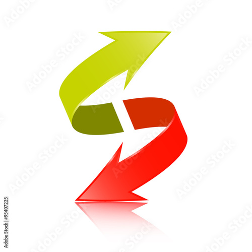 Double Arrow Vector 3D Green and Red Symbol Poster