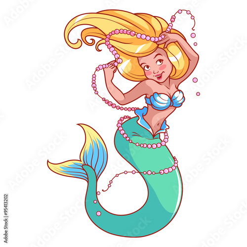Photographie  Mermaid with pearls in her hand.