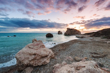 Sunset At Petra Tou Romiou, The Birthplace Of Aphrodite. Paphos. Cyprus.v