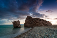Big And Small. Evening Landscape At Petra Tou Romiou, The Birthplace Of Aphrodite. Paphos. Cyprus