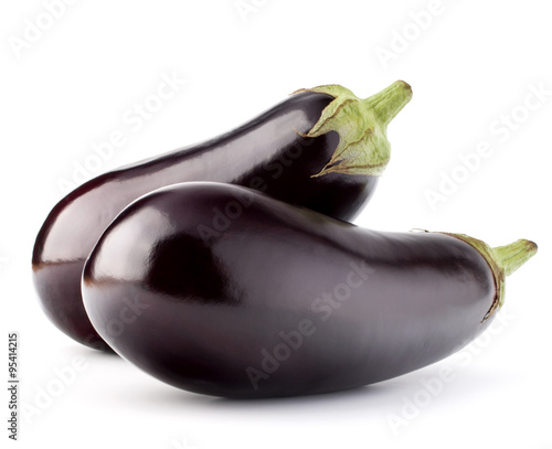 Eggplant or aubergine vegetable isolated on white background cut Canvas Print