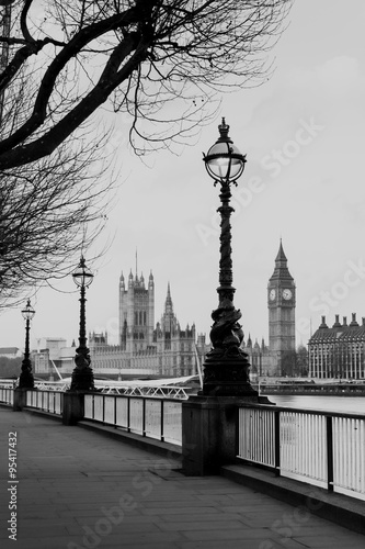 Fototapety, obrazy: RETRO VINTAGE PHOTO FILTER EFFECT: Lamp on South Bank of River Thames with Big Ben and Palace of Westminster in Background, London, England, UK