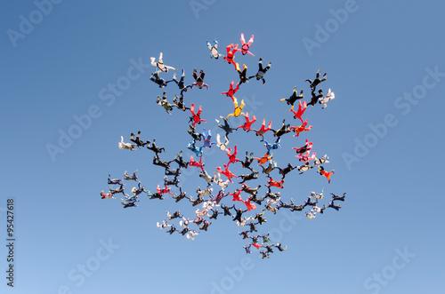 Fotografie, Obraz  Skydiving big group formation