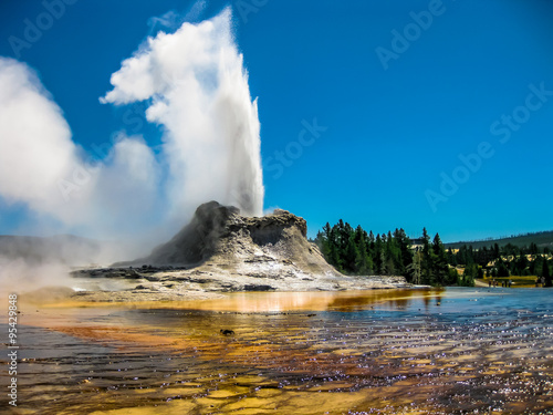 Fotografie, Obraz Castle Geyser Eruption Yellowstone