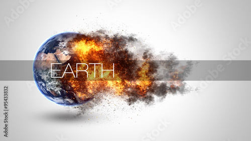 Photographie Abstract apocalyptic background - burning and exploding planet Earth