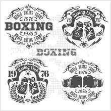 Set Of Vintage Boxing Emblems, Labels, Badges, Logos And Designed Elements. Gray Style