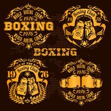 Set Of Vintage Boxing Emblems, Labels, Badges, Logos And Designed Elements. Gold Style