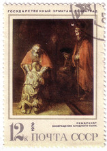 """USSR - CIRCA 1970: A Stamp Printed In The USSR Shows A Painting By The Artist Rembrandt Harmenszoon Van Rijn """"The Return Of The Prodigal Son"""", Circa 1970."""
