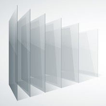 Perspective Transparent Glass Siny Gray Abstract Rectangles On White Background