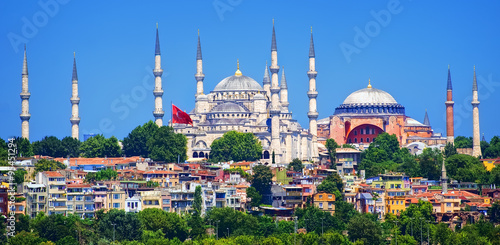 Printed kitchen splashbacks Turkey Panoramic view of Istanbul with minarets of Blue Mosque and Hagia Sophia cathedral, Turkey