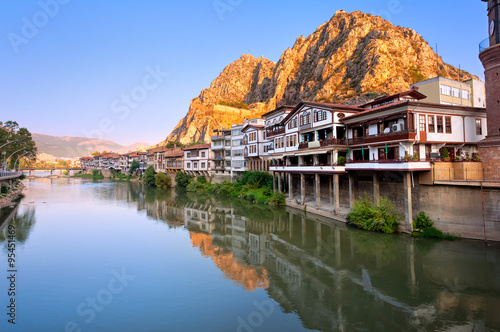 Poster Turquie Traditional ottoman half timbered houses in Amasya, Turkey