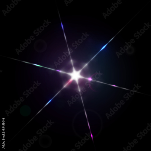 Fotografie, Tablou Sparkling star with light diffraction