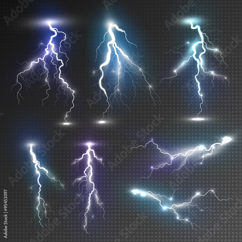 Obraz Realistic lightnings set - fototapety do salonu