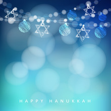 Jewish Holiday Hannukah Greeting Card With Garland Of Lights And Jewish Stars, Vector