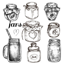 Hand Drawn Jars Set Collection