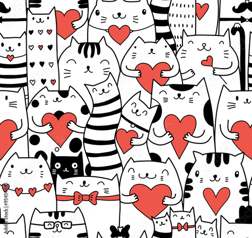 Сats with hearts seamless pattern