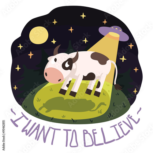 Photo  I want to believe vector poster illustration (background) with cow on the hill a