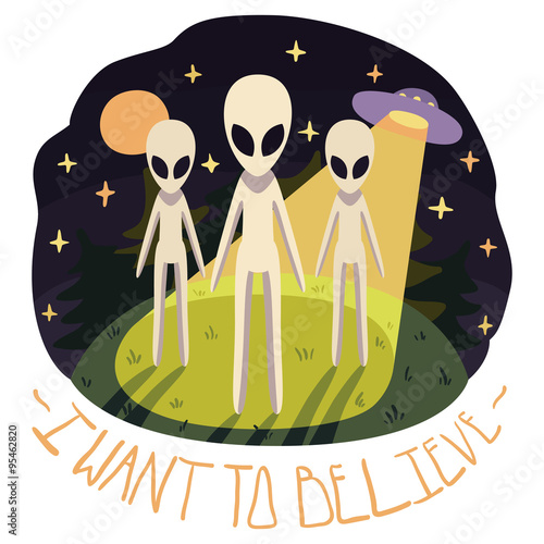 Photo I want to believe vector poster (background) with aliens on the hill and UFO in