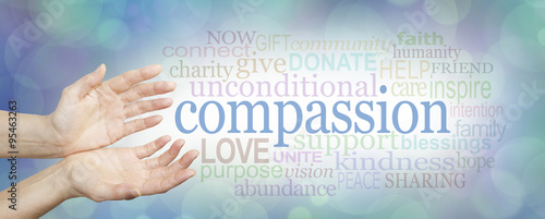 Photo Compassion banner -  wide banner with a woman's hands in an open needy position