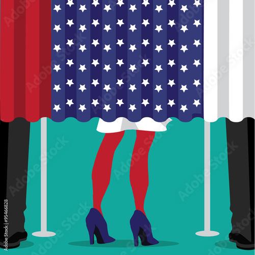 Fotografie, Obraz  Woman and men voting flat design