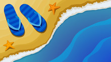 Vector Illustration. Top View Of The Sand Beach And The Sea With The Waves. On The Sand At The Water's Edge, Are Blue Striped Flip-flops And Two Starfish