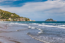 Gallinara Island And Town Of Alassio In Italy