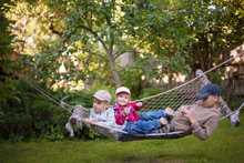 Children Playing Fun Together Lying Hammock, Garden  Yard