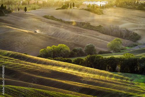 Fototapeta słoneczny poranek w Toskanii,Val d'Orcia,Włochy obraz