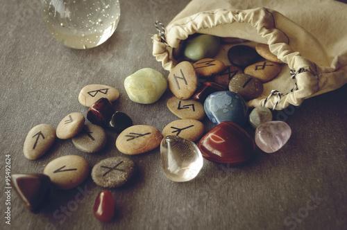 Photo  runes and tarot cards