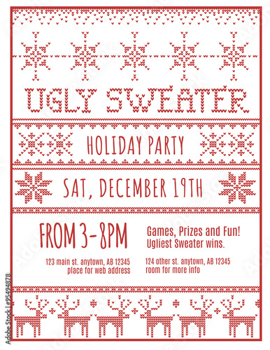 Red And White Ugly Holiday Sweater Party Invitation Template Buy