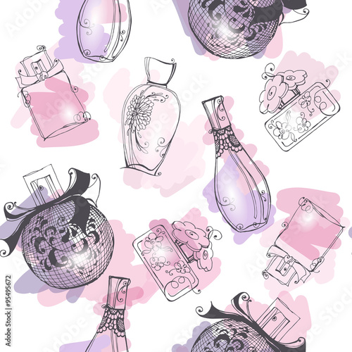 Cotton fabric Seamless background with  Beautiful perfume bottle. Beautiful and fashion background. Vector illustration.