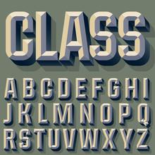 Vector Illustration Of Old School Beveled Alphabet. Simple Colored Version. Alphabet