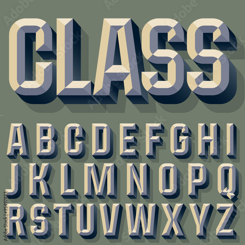 Valokuva Vector illustration of old school beveled alphabet