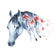 Wet Watercolor Horse Head With...