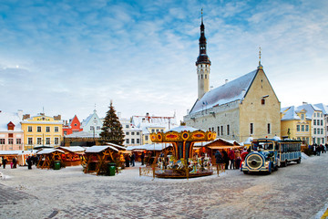 Christmas market on town hall square in Tallinn, Estonia