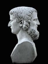 Janus Sculpture On A Black Background. Marble Bust Of The Mythological God Of The Summer Garden Of Saint Petersburg